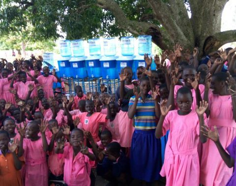 School Children with their Water filters.